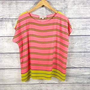 LOFT striped short sleeve blouse Size small